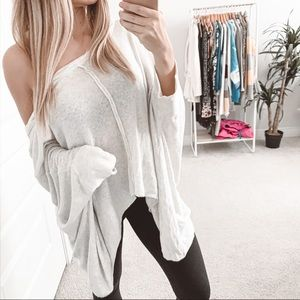 Free People Oversized Slouchy Poncho Sweater Cream